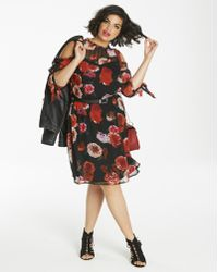 1fe4d697e45 Lyst - Old Navy Floral-print Georgette Swing Dress in Black