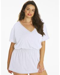 feb491bd17 River Island Embroidered Beach Kaftan Cover Up in White - Lyst