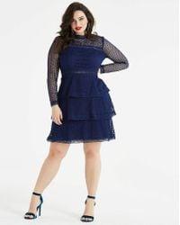 AX Paris - Curve Spot Mesh Ruffle Dress - Lyst