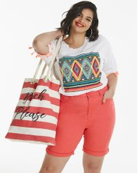 d68796d0f16 Lyst - Old Navy Mid-rise Striped Everyday Plus-size Shorts - 7-inch ...