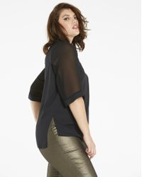 Simply Be - Mesh Sleeve Tunic With Side Splits - Lyst