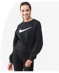 17dc0fbacd6b2 Lyst - Nike Cropped Crew Neck Swish Sweatshirt in White