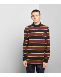 Fred Perry - Stripe Long Sleeved Rugby Shirt - Size? Exclusive - Lyst