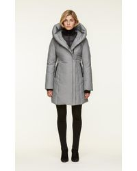 SOIA & KYO - Soia&kyo - Camelia Slim Fit Brushed Down Coat With Leather Trims - Lyst