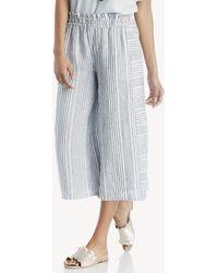 Vince Camuto - Variegated Stripe Linen Wide Leg Culottes - Lyst