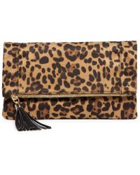 Sole Society - Tasia Tasseled Leopard Foldover Clutch - Lyst