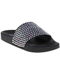 498f9cc23f5 Steve Madden Softey Sherling Cuffed Slide Sandals in Brown - Lyst