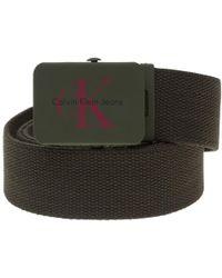 Calvin Klein | Canvas Plaque Belt | Lyst