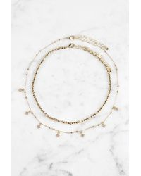 South Moon Under - Beaded Gold Choker With Cubic Zirconium Accents - Lyst