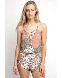 South Moon Under - Bare Tie Neck Patchwork Printed Romper - Lyst