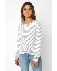 South Moon Under - Stripe Knot Front Tee - Lyst