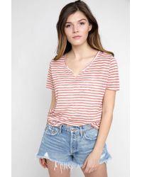 South Moon Under - Suzie Linen Knit Stripe Slit V Neck T Shirt - Lyst