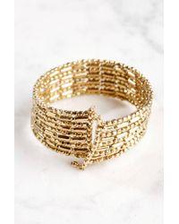 South Moon Under - Gold Beaded Stretch Cuff Bracelet - Lyst