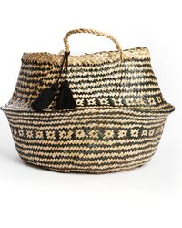 South Moon Under - Black Woven Seagrass Fold Basket With Handle - Lyst