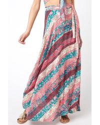 South Moon Under - Silk Printed Wrap Maxi Skirt - Lyst