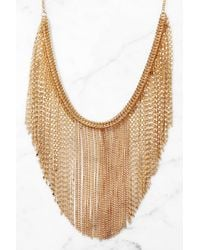 South Moon Under Multi Chain Bib Necklace Gold TXF01w