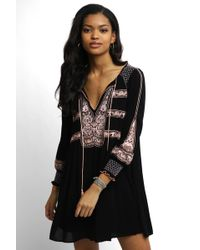 Free People - Long Sleeve Wind Willow Embroidered Peasant Dress - Lyst