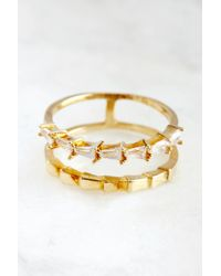 South Moon Under - Crystal Gold Double Band Ring - Lyst