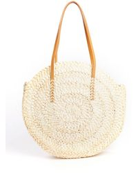 South Moon Under - Straw Circle Tote With Leather Strap - Lyst