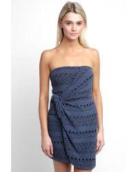 South Moon Under - Strapless Oceanside Eyelet Knit Mini Dress - Lyst