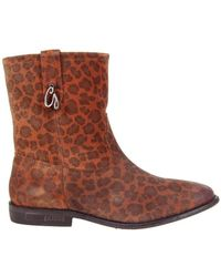 Guess - Vivan Printed Suede Bootie Brown Women's Low Ankle Boots In Brown - Lyst