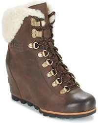 Sorel - Conquest Wedge Shearling Women's Mid Boots In Brown - Lyst