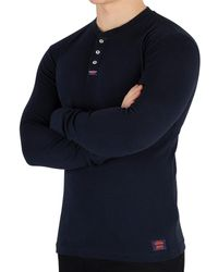 749283246979 Superdry - Men's Heritage Longsleeved Grandad T-shirt, Blue Men's In Blue -  Lyst