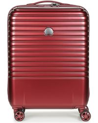 Delsey - Caumartin Plus Valise Trolley Cabine Slim 4 Doubles Roues 55 Cm Men's Hard Suitcase In Red - Lyst