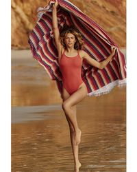 Seafolly , Coral 80's Swimsuit, Inka Rib Women's In Pink