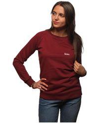 L'affaire De Rufus - Organic Cotton Round Neck Sweatshirt Aude Burgundy / White Woma Women's Sweatshirt In Red - Lyst
