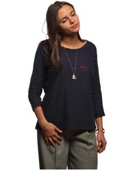 L'affaire De Rufus - Printed Crew Neck Sweatshirt 100% Organic Cotton Raymonde Navy Women's In Blue - Lyst