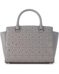 MICHAEL Michael Kors - Borsa A Mano Selma In Pelle Grigia Trapuntata Con Borchie Women's Shoulder Bag In Grey - Lyst