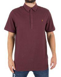 Farah   Men's Chelsea Jacquard Logo Polo Shirt, Red Men's Polo Shirt In Red   Lyst