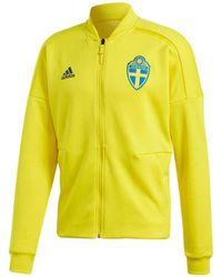 adidas - 2018-2019 Sweden Zne Knitted Anthem Jacket Men's Sweatshirt In Yellow - Lyst