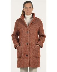 Mat De Misaine - Tweedy Brick-red Wool Coat Fjord Brick Red / White Women's Coat In Red - Lyst