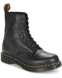 Dr. Martens - 1460 PASCAL FLORAL EMBOSS femmes Boots en Noir - Lyst