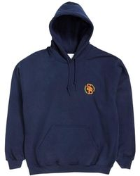 The Idle Man - Stamford Ball Park Embroidered Over Head Hoodie Navy Men's Sweatshirt In Blue - Lyst