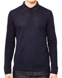Sunspel - Long Sleeve Riviera Polo Shirt Navy Men's Polo Shirt In Blue - Lyst