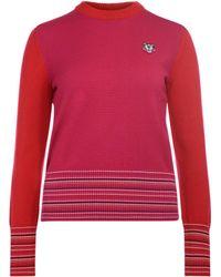 878ea3976c0 KENZO - Pull-over au col rond rouge et rose femmes Pull en rouge -