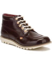 Kickers - Womens Dark Burgundy Leather Kick Hi Boots Women's Mid Boots In Red - Lyst
