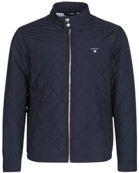 b7cf1b0e12d GANT - The Quilted Windcheater Men's Jacket In Blue - Lyst