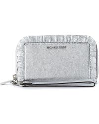 MICHAEL Michael Kors - Jet Set Silver Leather Wallet With Rouches Women's Purse Wallet In Silver - Lyst