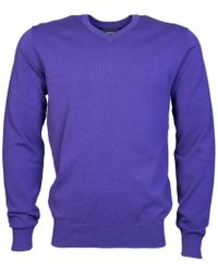 Armani Jeans - V Neck Knitwear Jumper 8n6mc7 6m11z Men's Jumper In Purple - Lyst