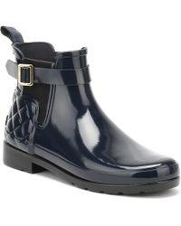 HUNTER - Original Womens Refined Gloss Quilted Navy Chelsea Boots femmes Bottes en bleu - Lyst