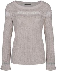 Mado Et Les Autres - Ultra-soft Jumper With Frill Sleeves 18hpul108_be486 Beige Wom Women's Jumper In Beige - Lyst