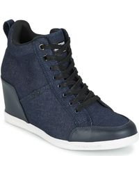 G-Star RAW - New Labour Wedge Women's Shoes (high-top Trainers) In Blue - Lyst