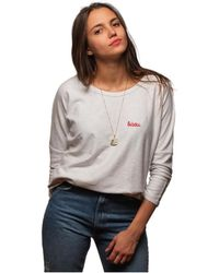 L'affaire De Rufus - Printed Crew Neck Sweatshirt 100% Organic Cotton Susan White / Women's Blouse In White - Lyst