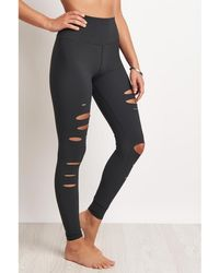 Alo Yoga - High-waist Ripped Warrior Legging - Anthracite - Xs Multicolour Women's Tights In Multicolour - Lyst