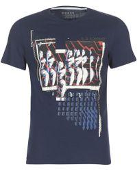 Guess - Nouboufice Men's T Shirt In Blue - Lyst