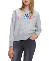 style distinctif grand choix de 2019 réduction jusqu'à 60% TJW MULTICOLOR EMBROIDERY CREW femmes Sweat-shirt en Gris